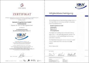 FOBIAKADEMIE Zertifikat + Mitgliedsbescheinigung – Qualitätsgemeinschaft Berufliche Bildung Köln 2021